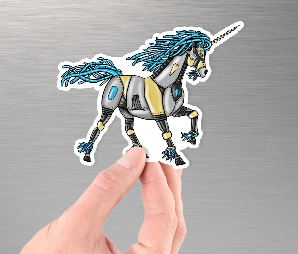 """Unicorn Robot"" - 3.5"" Premium Vinyl Sticker - Dan Pearce Creative Shop"