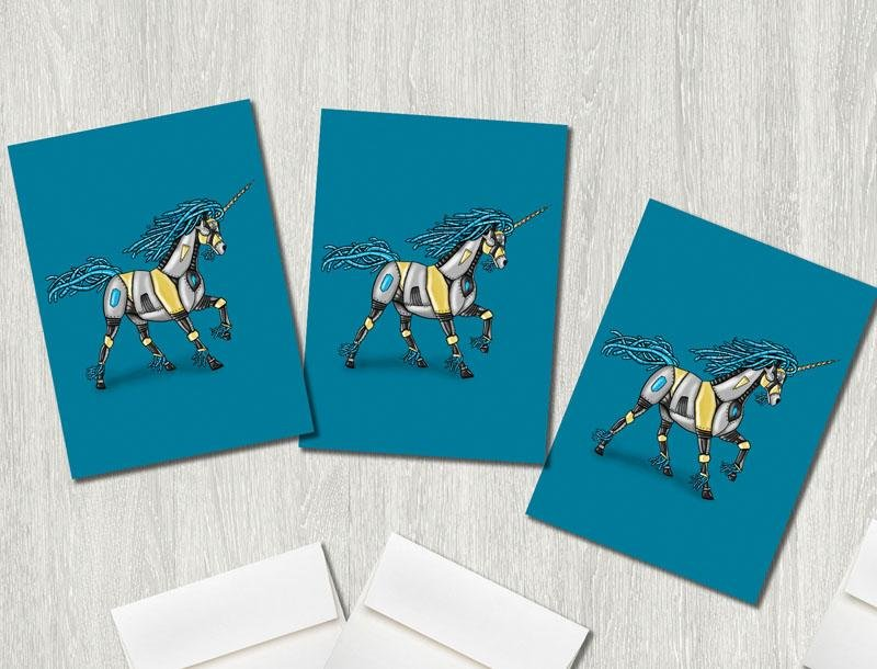 """Unicorn Robot"" Premium Greeting Card(s) Featuring Art by Dan Pearce - Dan Pearce Creative Shop"