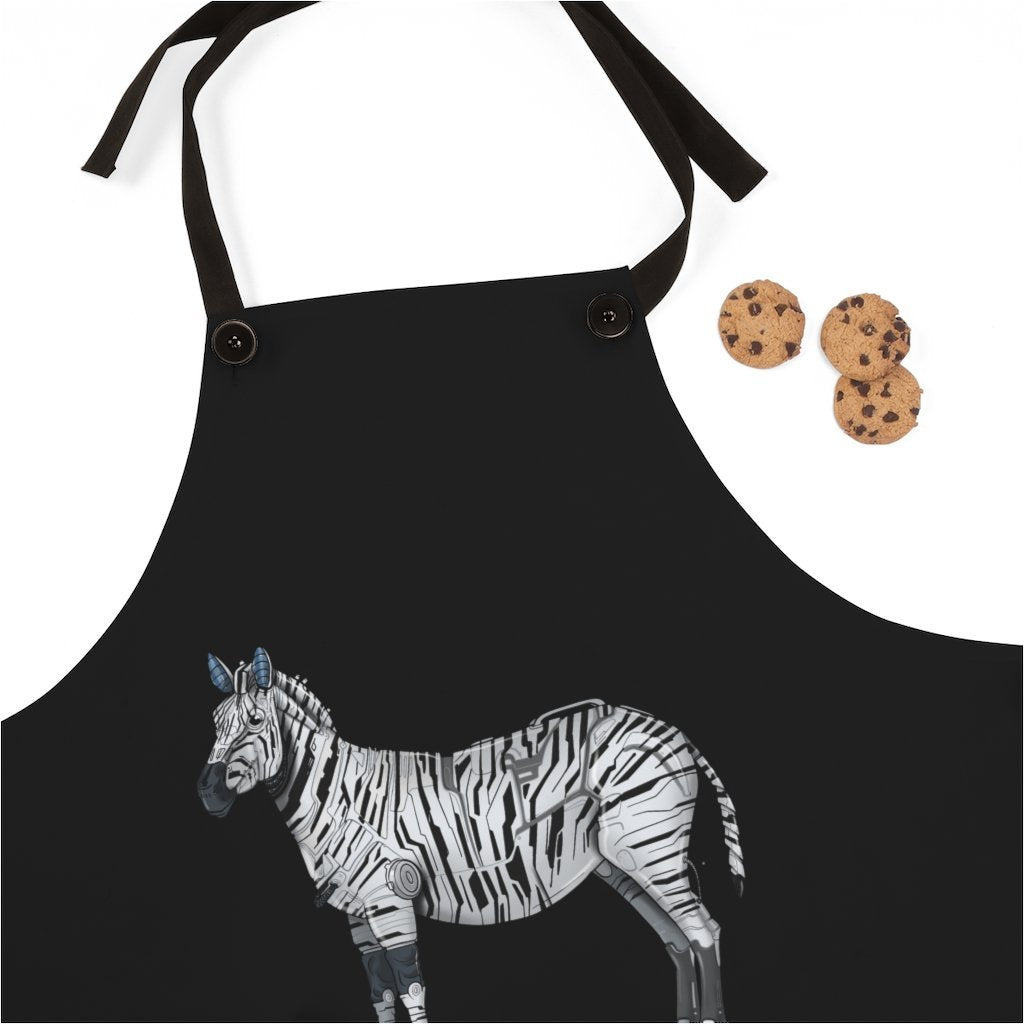 """Zebra Robot"" Cooking Apron Featuring Art by Dan Pearce - Dan Pearce Creative Shop"