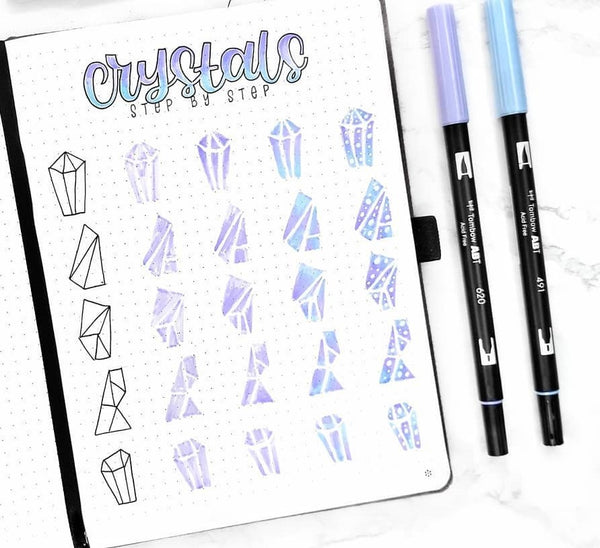 crystals doodles bullet journal