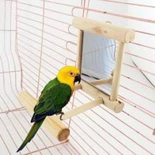 Wooden Pet Toy Mirror Fun Toy For Cockatiel Parrots Small Birds Parrot Toys Pet Parrots Climb Accessories   (AE)