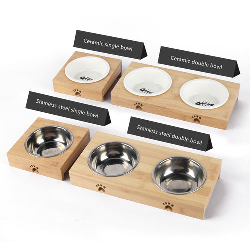 Fashion Ceramic Cat Bowl Bamboo Rack Dog Bowl Double Bowl Automatic Drinking Pet Products Pet Feeders