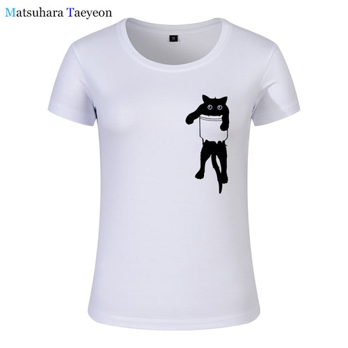 t shirt Women 100% cotton cat print women T shirt casual short sleeve Tshirt female o-neck loose women t-shirt tops tee shirt