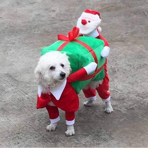 Pet Dog clothes Santa carrying gifts  (AE)