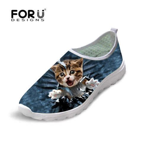 Fashion Flats Mesh Shoes Woman 3D Denim Cat  Casual Sneakers   (AE)