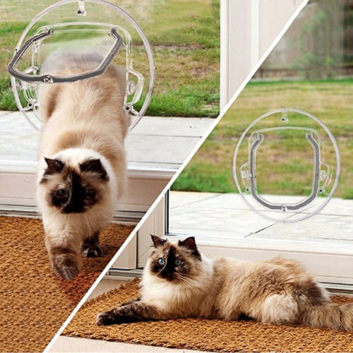 PC Pet Glass Door Cat Dog Door Security Flap Gate (AE)