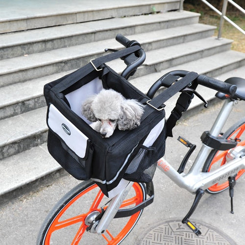Luxury Durable Pet Bicycle Basket Carrier Bicycle Dog Leash Car Foldable Transport Bag Carrying Travel Seat For Puppy Cat Animal  (AE)
