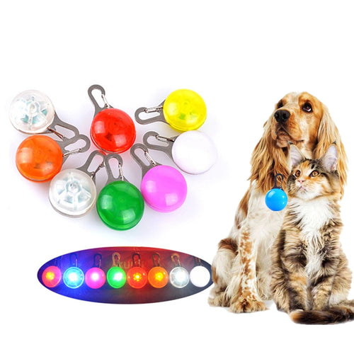 Pet Night Safety LED Flashlight Dog Cat Collar Lights Glowing Pendant Necklace   (AE)