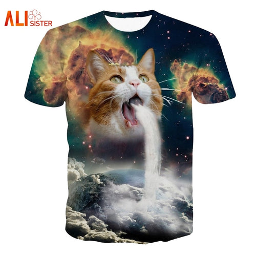 Solar Kitten T-Shirt Cat Vomiting A Waterfall Onto Earth Vibrant  (AE)