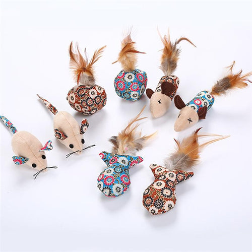 Mini Cat toy Set Mouse Pet Feather Teaser Wand 4pcs  (AE)