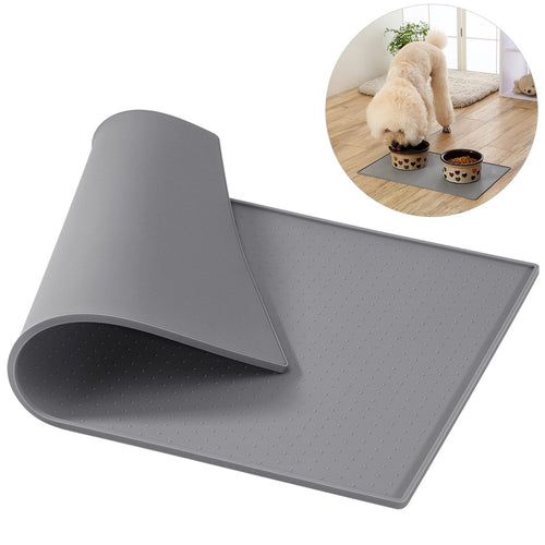 UEETEK Silicone Pet Food Mat Premium Waterproof Non-stick Dog Cat Food Water Treats Feeding Bowl Placemat Washable Water Fountain Food Tray Pad   (AE)