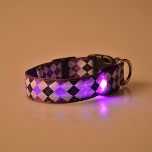Pets Night Safety Rhombus Pattern Collar Light Up Nylon LED Adjustable Collars S M L XL    (AE)