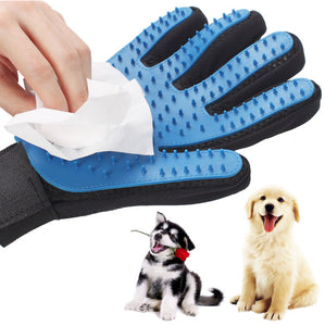 SiliconeSilicone Dog Pet brush Glove Deshedding Gentle Efficient Pet Grooming Glove Dog Bath Cat cleaning Supplies Pet Glove Dog combs  (AE)