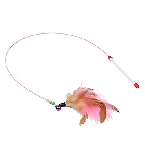 Metal Wire Cat Stick Feathered Bell  Funny Cat Pet Supplies  (AE)