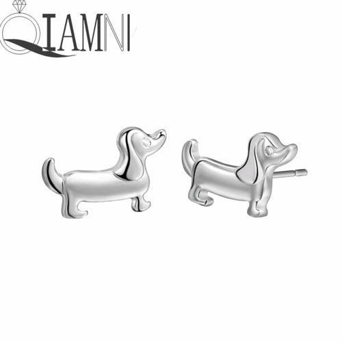QIAMNI Boho Chic Lovely Dachshund Sausage Dog Animal Stud Earrings Women Girls Christmas Kids Pet Lover Gift  (AE)
