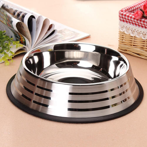 Pet Bowl Stainless Steel Medium Large  Pet Food  Bowl With Anti-slip Strip  (AE)