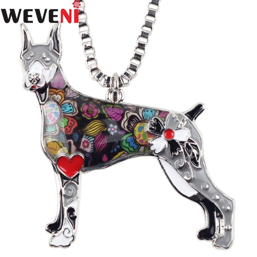 Enamel Metal Doberman Dog Necklace