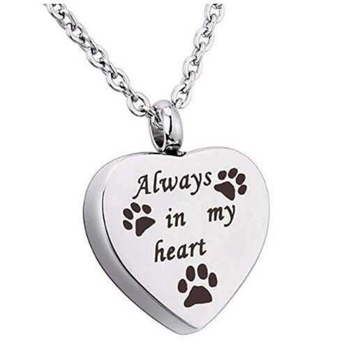Always In My Heart Pet Paw Cremation Urn Necklace Dog Ash Jewelry  (AE)