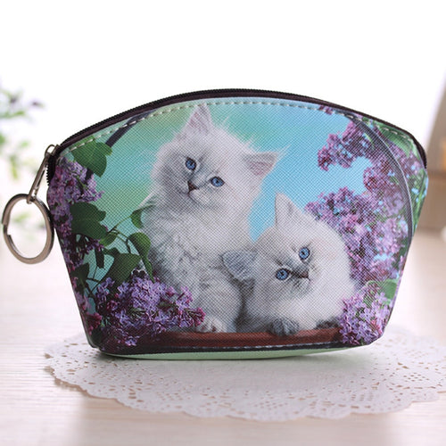 Lady Dog Cat Pet Faux Leather Clutch Short Coin Purse Wallet Gift Charming