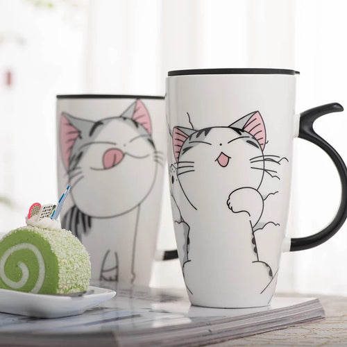 Cat Ceramics Coffee Mug With Lid Large Capacity