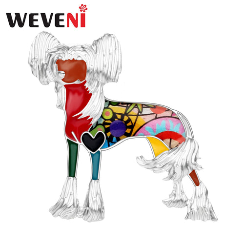 WEVENI Enamel Alloy Chinese Crested Dog Brooch Novelty Animal Pin  (AE)