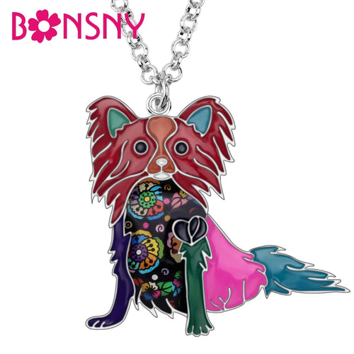Enamel Alloy Cartoon Papillon Dog Necklace