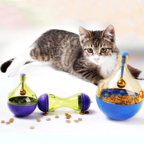 Cat Bowl Food Feeders Interactive Toy Tumbler Kittens Cat Playing Toys Dog Feeder Ball Pet Training Exercise Product Supplies (AE)