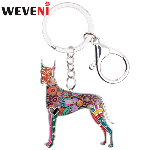 WEVENI Enamel Metal Great Dane Dog Key Chains Keychains Holder Animal Jewelry For Women Girls Pet Lovers Car Bag Purse  Charms  (AE)
