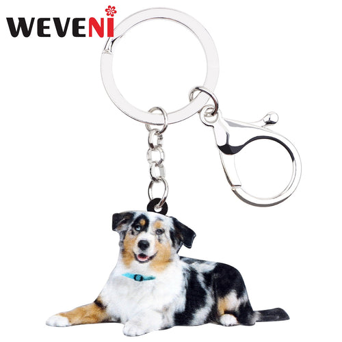 WEVENI Acrylic Australian Shepherd Dog Key Chain Keychain Holder Animal Pet Jewelry For Women Girls Gift Bag Car Charms Pendant  (AE)