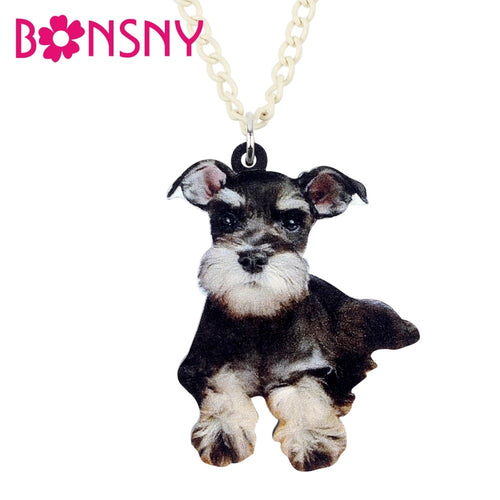 Acrylic Anime German Schnauzer Dog Necklace