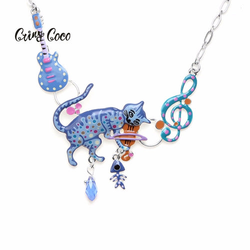 Cute Necklace with cat, guitar and notes
