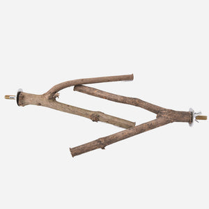 Pet Parrot Raw Wood Fork Tree Branch Stand   (AE)