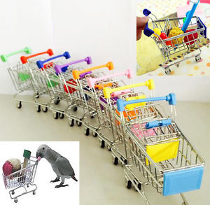 Mini Supermarket Shopping Cart Trolley Pet Bird Parrot Hamster Toy  (AE)