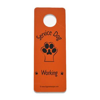 Service Dog Working Door Hanger - Orange