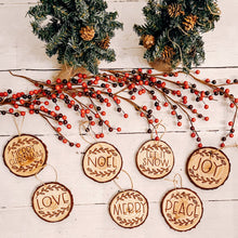 Load image into Gallery viewer, Rustic Wood Slice Ornaments