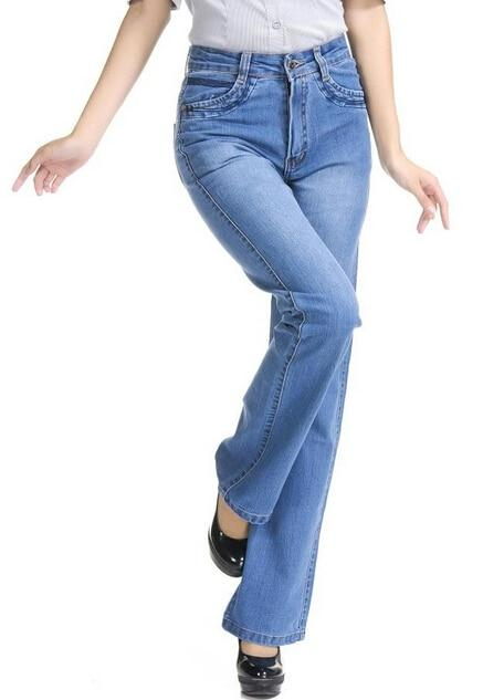 Free shipping plus size elastic plus size bell bottom jeans female trousers women's high waisted pants-rodewe