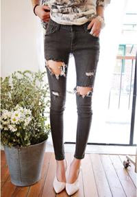 Fashion Casual Women Brand Vintage High Waist Skinny Denim Jeans Slim Ripped Pencil Jeans Hole Pants Female Sexy Girls Trousers-rodewe
