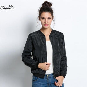 2016 Autumn Fashion Bomber Jacket Women Long Sleeve Basic Coats Casual Thin Slim Outerwear Short MA1 Pilot Bomber Jackets-rodewe