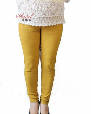 New Arrival Spring and Autumn style leggings women Denim Woven Pants plus size XXL-5XL High Waist Candy Color women's trousers-rodewe