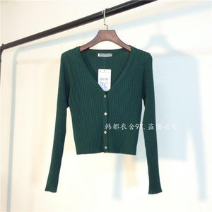 2016 spring V-neck stripe short design long-sleeve cardigan sweater women slim high waist coat-rodewe