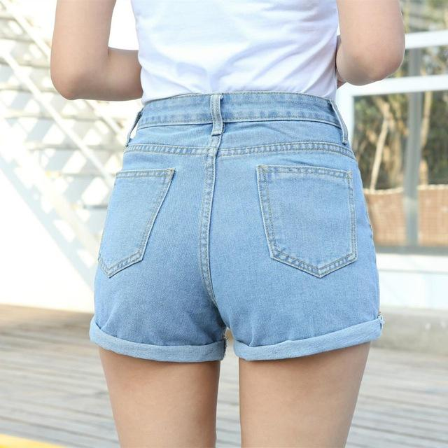 Women Denim shorts female wild spring and summer loose short Retro Mid waist thin curling fashion lager size short jeans Hot-rodewe
