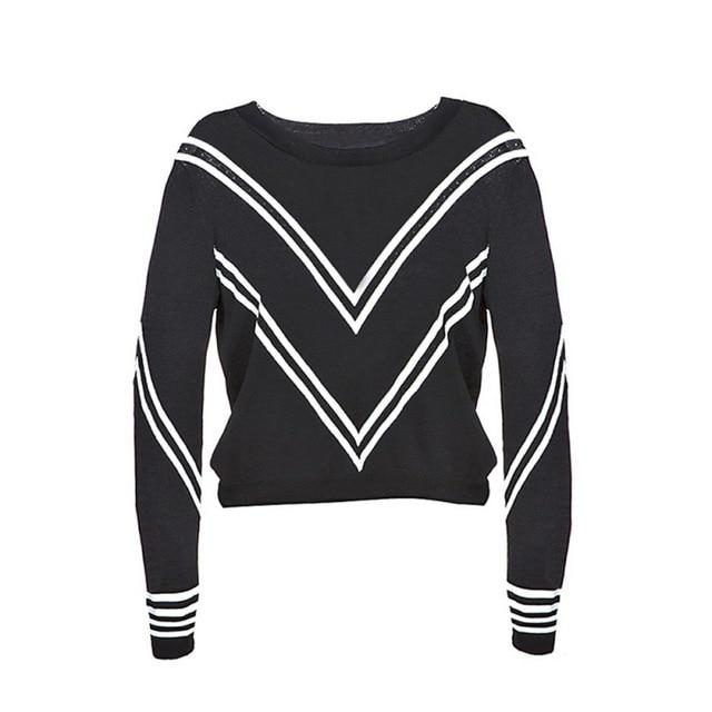 HDY Haoduoyi 2017 Fashion Striped Tops Women Long Sleeve Female Pullover Tops Preppy Style O-neck Casual Ladies Sweater-rodewe