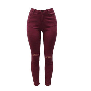Candy Colors Jeans Femme Fashion High Waisted Skinny Jeans Woman Sexy Hip Lift Women Cotton Broken Hole Jeans Pencil Pants XXXL-rodewe