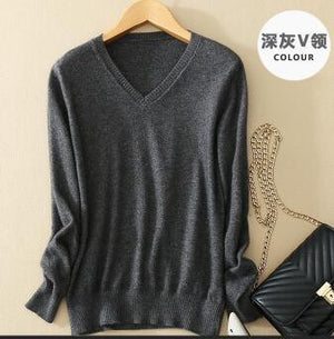 Sweater V Neck Women Fashion Autumn Cashmere Kint Sweater V Neck Solid Slim Sexy Pullovers Coat Female Blouse Knit Sweater-rodewe