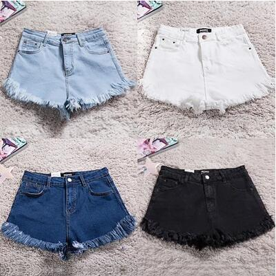 Women's new high elastic waist cultivate one's morality big yards of black and white flash tassel shorts Han edition short jeans-rodewe