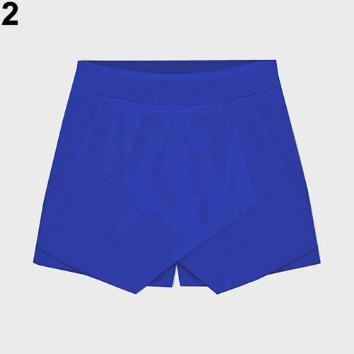 Women's Summer Sexy Casual Asymmetrical Front Candy Color Tulip Skort Shorts-rodewe