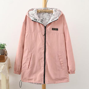 1PC Spring Jacket Women Basic Coats Jaqueta Feminina Casaco Feminino Autumn Hooded Outerwear Coat Reversible Two-Side Wear Z506-rodewe