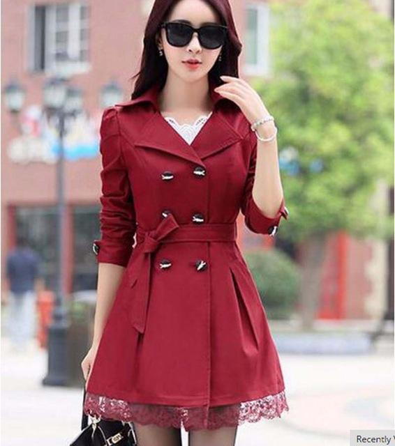 1PC Trench Coat For Women Spring Coat Double Breasted Lace Casaco Feminino Autumn Outerwear Abrigos Mujer Z015-rodewe
