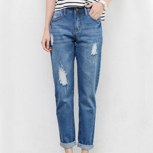 Tengo New Fashion Women High Waist Jeans Boyfriend Brand Female Harem Pants Women Casual Jeans Ripped Jeans for Women Plus Size-rodewe