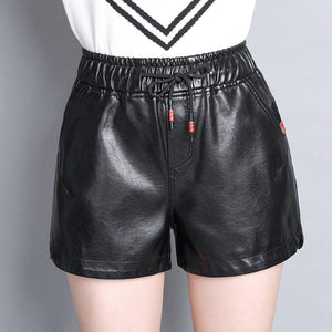 High Quality 2017 New Womens Winter PU leather Black Shorts Elastic Waist Female Celebrity Loose Fashion Women Casual Shorts-rodewe